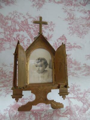 Superb Antique French Brass Photo Frame - Church Gothic Revival