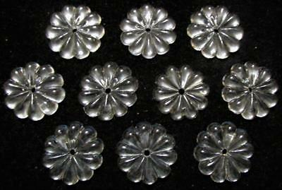 "Lot 10 Vintage Clear Crystal Flower Rosette Prisms 1 3/8"" / 35mm for Chandelier"