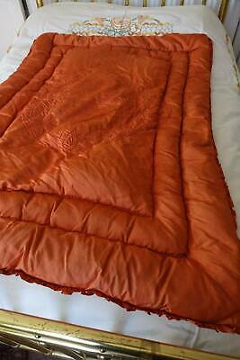Vintage feather filled satin eiderdown quilt. Pumpkin satin & maroon