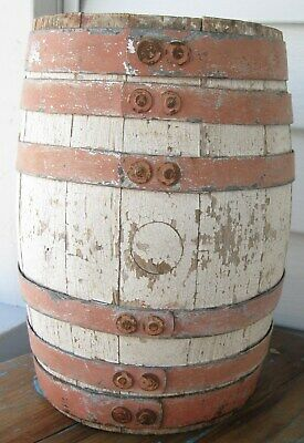 Antique Fabulous Wooden Staved Barrel Old White Paint W/6 Salmon Paint Bands
