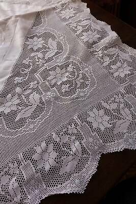 Antique white Irish linen tablecloth hand crochet lace & whitework embroidery