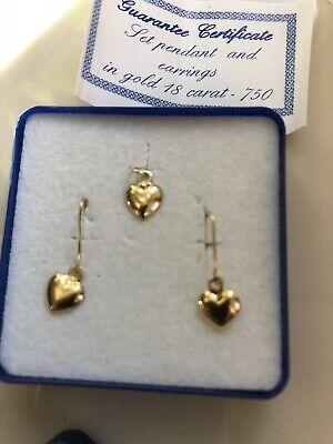 Lovely 18 carat Gold Heart Drop Earrings And Matching  Pendant