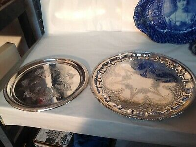 Beautiful Heavy Quality Vintage Patterned Silver Plated Cocktail Trays X 2