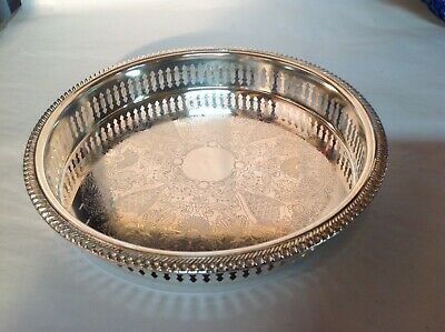 """Beautiful Vintage Silver Plate Chased Pierced Gallery Cocktail Tray 9.5"""" Approx"""
