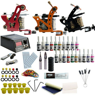 Professional Tattoo Kits 20 Ink Set Complete Set 3 Tattoo Machine Gun Lining And