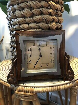 Old Small Wooden Mantle Clock  Carved Detail