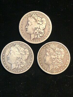Lot of 3 Morgan Silver $1 Dollar Coins 1881-S 1888-O 1900-O VG to Very Fine Nice