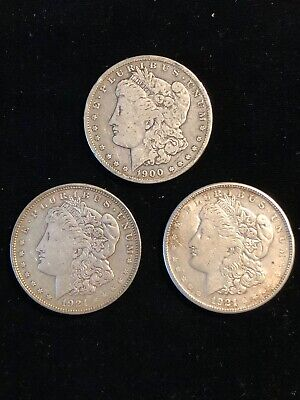 Lot of 3 Morgan Silver $1 Dollar Coins 1900-O 1921 & 1921-S Very Fine to XF Nice