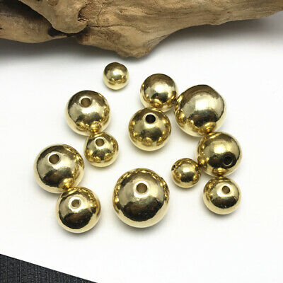 20pcs 8mm Round Brass Metal Loose Spacer Beads Jewelry Making Finding Craft DIY