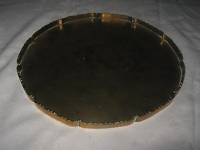 A Circular Brass Etched Dragon Design Scalloped Gallery Edge Serving Tray