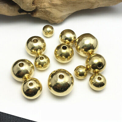 50pcs 4mm Round Brass Metal Loose Spacer Beads Jewelry Making Finding Craft DIY