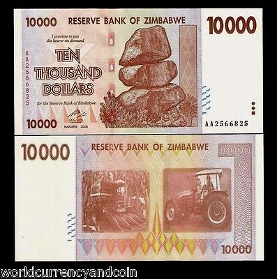 ZIMBABWE 10000 DOLLARS P72 2008 *AA* UNC Rare 10 20 50 100 Trillion Series NOTE