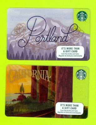 Lot (2) Starbucks gift cards $0 balance 2015 California and 2016 Portland Oregon