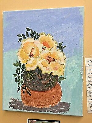 Original Acrylic Painting on Canvas Flower Vase 100% Hand Painted (11in.- 14in.)