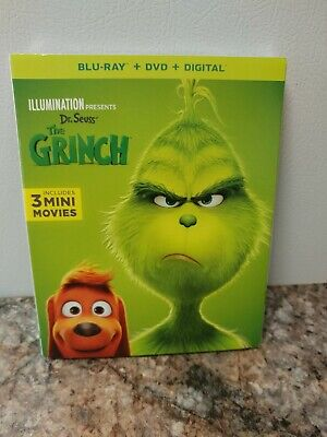 Dr. Seuss The Grinch (Blu Ray + DVD + Digital + Slip Cover) FACTORY SEALED