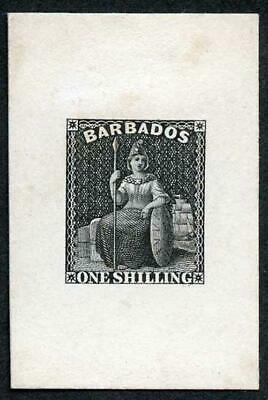 Barbados 1858 1/- Die Proof in Black on India Paper Very Rare
