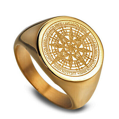 Gold Plated Stainless Steel Mysterious Compass Men's Craft Ring M23