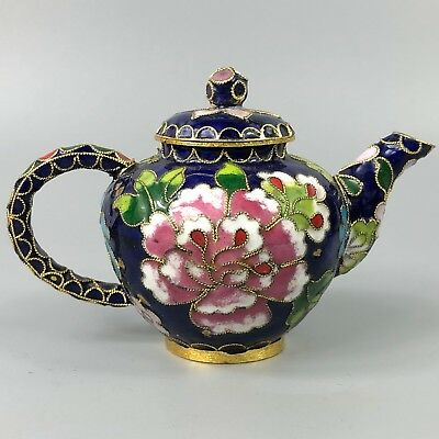 Chinese Collectible Rare Cloisonne Handwork Colorful Peony Old Antique Teapot