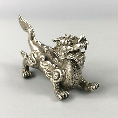 Rare Collectible Chinese Old Tibet Silver Handwork Winged Dragon Antique Statue