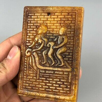 Rare Collectible Chinese Yellow Jade Handwork Rear-Entry Sex Figure Old Pendant