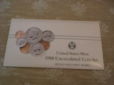 1988 Uncirculated U.S. Mint Set 10 Coins P and D Mint Marks