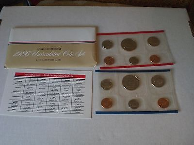 1986 Uncirculated U.S. Mint Set 10 Coins P and D Mint Marks