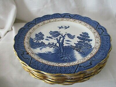 Booths Real Old Willow blue gold lot of 6 salad dessert plates A8025