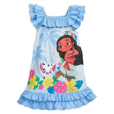Disney Store Moana Nightshirt Nightgown Pajama For Girls Size 4, 7/8 Blue