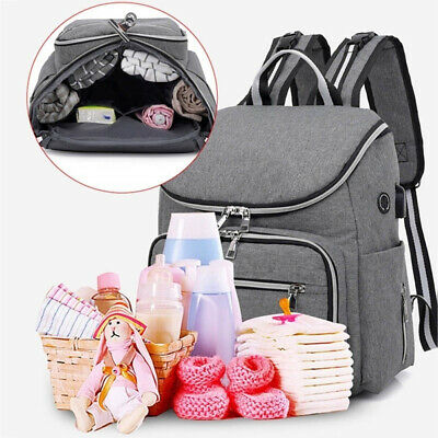 Baby Nappy Mummy Changing Maternity Backpack USB Diaper Multifunctional Bag