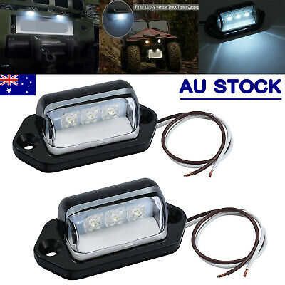 2X 3LED License Number Plate Light Tail Rear Lamp For Truck Trailer Lorry 12/24V