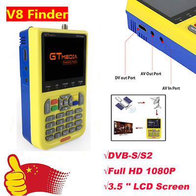 V8 FINDER FTA Digital 3.5''HD DVB-S2 Satellite Finder GTMEDIA Powered By Freesat