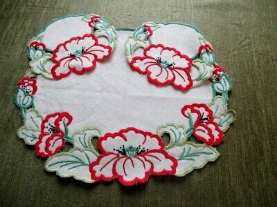 Vintage Tray Cloth-Hand Embroidered Poppies + 2 Mats - Unused