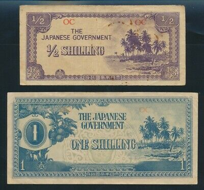 """Oceania: JAPANESE INVASION WWII 1942 ½ & 1 Shilling """"HISTORIC PAIR"""". Pick 1c-2a"""