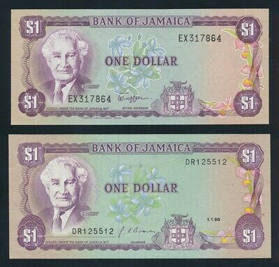 "Jamaica: 1982 & 1-1-1990 $1 PAIR WORD PREFIXES ""EX"" & ""DR"". Pick 64a & 68Ad UNC"