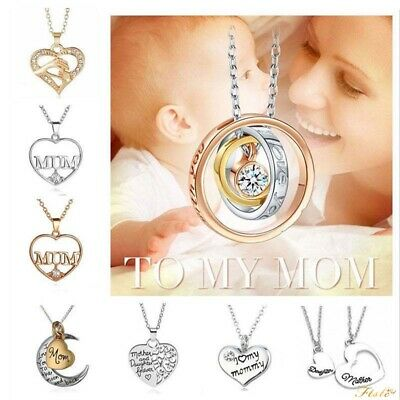 Mum Gold Crystal Necklace & Pendant NEW* Birthday Christmas Mothers Day Gift UK