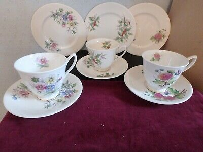 "Royal Albert  Bone China ""flowers Of The Month"" 9 Piece Tea Set, Oct To Dec"