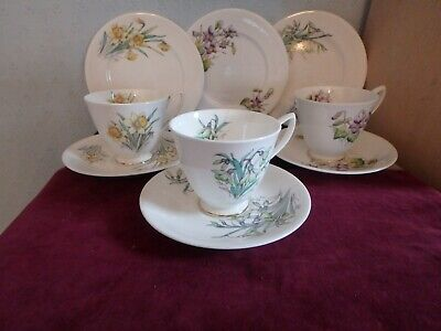 """Royal Albert  Bone China """"flowers Of The Month"""" 9 Piece Tea Set, Jan To March"""
