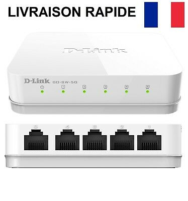 Mini Switch Ethernet D-Link 5 ports GIGABIT 10/100/1000Mbps Hub Box Réseau ADSL