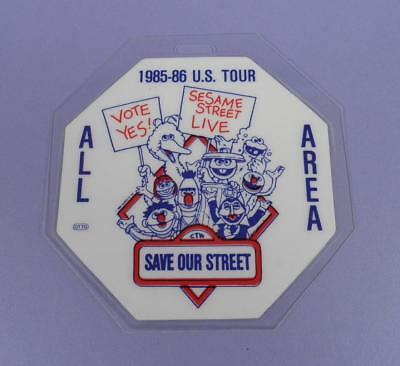 Sesame Street - Save Our Street US Tour 1985-86 ALL AREA Backstage Pass