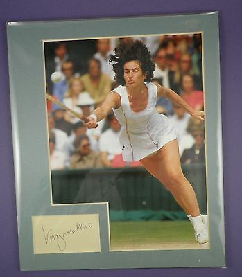 Virginia Wade - Tennis Champion - Genuine Autograph, Signed Card & Matted Photo