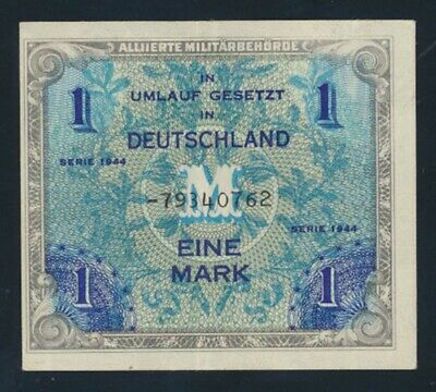 Germany: ALLIED OCCUPATION WWII 1944 1 Mark. Pick 192d NEF - Cat UNC $40, VF $27