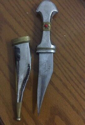 Antique silver dagger with Decorations old Bedouin sword knive blade middle east
