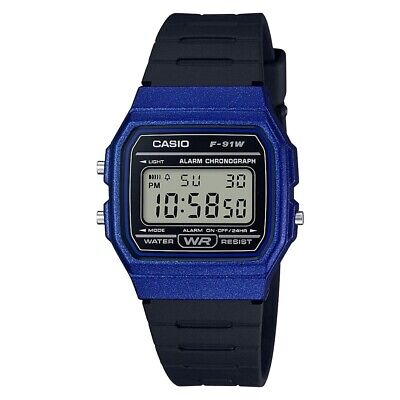 Casio Mens Digital LCD Watch with Stopwatch, Alarm, Timer etc. Blue F-91WM-2AEF