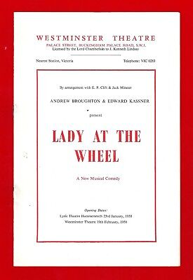 """Leslie Bricusse (Debut) """"LADY AT THE WHEEL"""" Robin Beaumont 1958 London Playbill"""