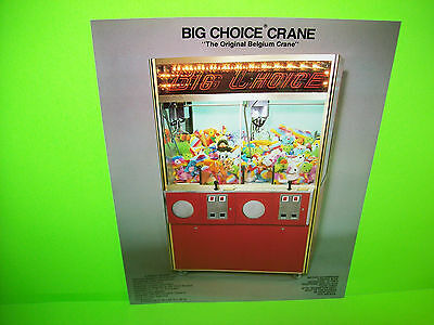 Big Choice Belgium Skill Crane Original NOS Arcade Claw Prize Game Sales Flyer
