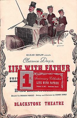 """Lillian Gish """"LIFE WITH FATHER"""" Percy Waram / First Anniversary 1941 Chicago"""