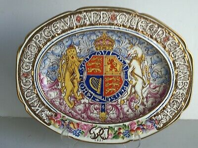 Rare 1937 King George VI Coronation Paragon China Commemorative OVAL PLATTER