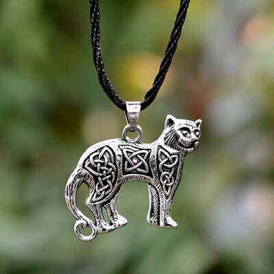 Norse Viking Celtic Cat Pendant Necklace Irish Celtics Amulet Necklace Love Cat