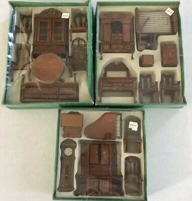 Vintage Wood Doll House Dining Room Furniture Table Hutch Buffet Piano Clock NIB