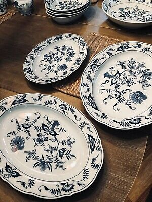 Blue Danube Oval Serving Dishes (3) Different sizes 12 in, 14 and 16 inches